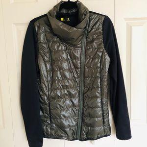 Xersion Puffer Jacket Zip Up Coat Green Black L
